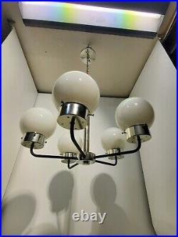 Mid Century Modern Chrome Vintage 5 Arm Chandelier Atomic Globe Italian Style