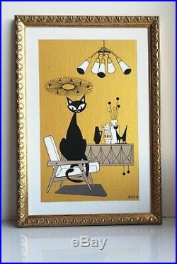 Mid Century Modern Interior Atomic Cat Retro Gold Wall Art Original Painting