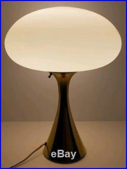 Mid Century Modern Laurel Bill Curry Brass Tone White Glass Atomic Mushroom Lamp