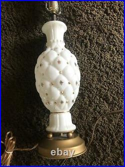 Mid Century Modern Milk Glass Gold Atomic 3D Starburst Lamps True Vintage