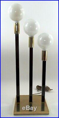Mid Century Modern Table Lamp 1970s 31 Retro Atomic Brass & Black 3 Light Orb