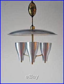 Mid Century Modern Triennale atomic xl aluminum ceiling lamp stilnovo lightolier