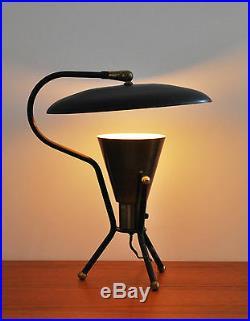 Mid Century Modern atomic tripod saucer rare lightolier reflector table lamp