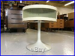 Mid Century OPAL Tulip Side Table White Atomic Vintage Retro Glass Round 60s