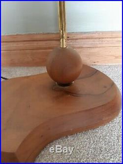 Mid century atomic teak standard lamp stand unusual retro chunky light mcm