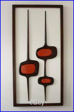 Mid century modern wall decor Carved wood wall art 1970s atomic design