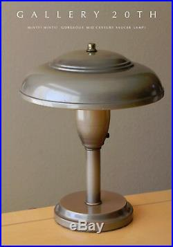 Minty! MID Century Library Saucer Lamp! 50's Vtg Atomic Light Ufo Modern Retro