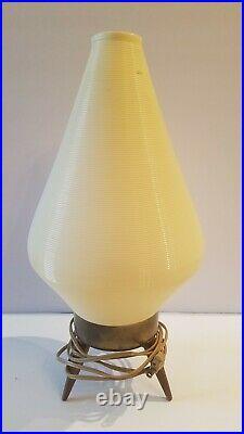 One Mid Century Modern Beehive Table Lamp Tripod Legs Atomic Beige MCM