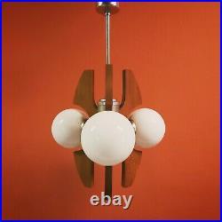Original 1960's atomic 3 globe space age wood metal glass pendant ceiling light