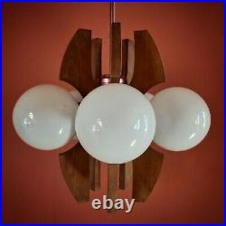 Original 1960's atomic 5 globe space age wood metal glass pendant ceiling light