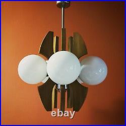 Original 1960's atomic 5 globe space age wood metal glass pendant ceiling light