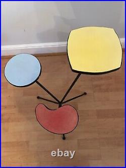 Original Atomic Mid Century 50s Retro Multicolour Plant Stand / Display Table