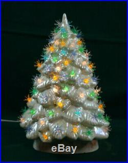 Original Mid Century Modern White Ceramic Christmas Tree Sputnik Atomic Lights
