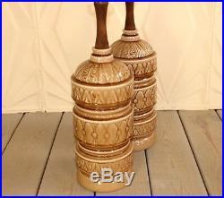 Pair Large Ceramic Wood Lamps Mid Century Modern Beige Tan Walnut Retro Atomic