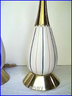 Pair MID Century Modern Atomic Rocket Ceramic And Brass Lamps