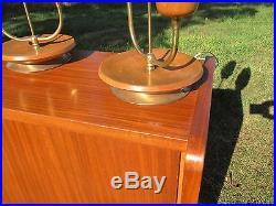 Pair Mid Century Brass Beech Wood Rocket Atomic Table Desk Nightstand Lamps Lamp