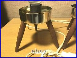 Pair Mid Century Modern Atomic Plastic Beehive Tripod Table Lamp 1960s MCM