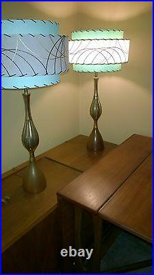 Pair Mid Century Vintage Style 3 Tier Fiberglass Lamp Shade Modern Atomic SF