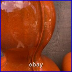 Pair Of Mid Century Ceramic Lamps Flame Orange Glazed Atomic MCM