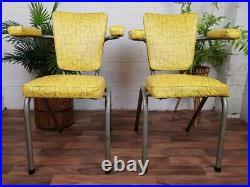 Pair Of Vintage 1960's Chairs Yellow Vinyl Atomic Sputnik Mid-Century Retro