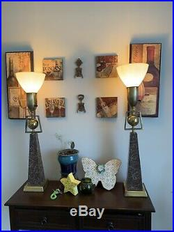 Pair Of Vintage Rembrandt Lamp Mid Century Modern Atomic Lacquered Obelisk Lamp