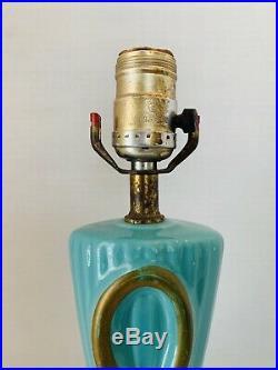 Pair Turquoise Gold Mid Century Modern MCM Lamp Light Atomic Retro Table Bedroom