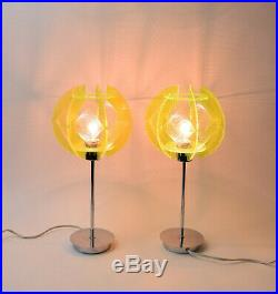 Pair Vintage Atomic Mid-Century Modern Neon Lucite String Table Lamps