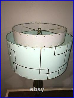 Pair of Mid Century Vintage Style 2 Tier Fiberglass Lamp Shades Atomic SF