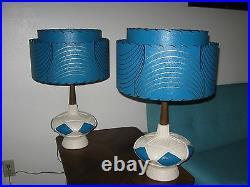Pair of Mid Century Vintage Style 2 Tier Fiberglass Lamp Shades Atomic Teal 2