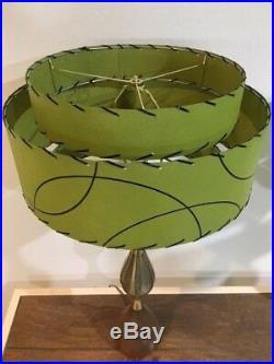 Pair of Mid Century Vintage Style 3 Tier Fiberglass Lamp Shades Atomic Green