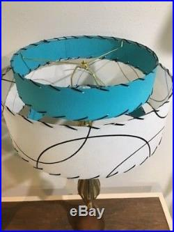 Pair of Mid Century Vintage Style 3 Tier Fiberglass Lamp Shades Atomic Turquoise