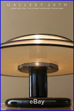 RARE & ICONIC! MID CENTURY MODERN SAUCER LAMP! WHITE UFO 50s ATOMIC LIGHTING VTG