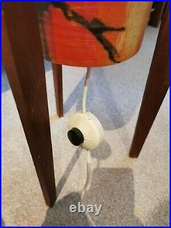Rare 60s Mid Century Spun Fibreglass & teak Rocket Lamp vintage retro atomic