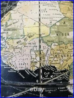 Rare Mid Century Vintage 1950s 60s Atomic Globe on Stand World Map