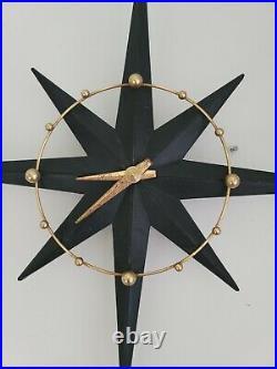 Rare Starlite Mid-century Modern Starburst Atomic Wall Clock Sunburst Light Up