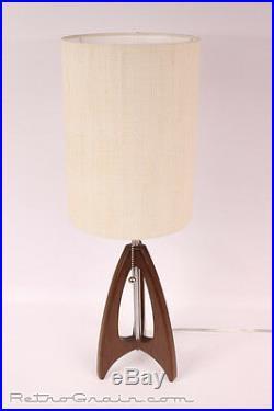 Retro Grain Table Lamp Danish Modern Atomic Mid-Century Modern Walnut