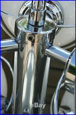 Retro Mid-century Chrome 7 opaline glass globes sputnik atomic chandelier 70's
