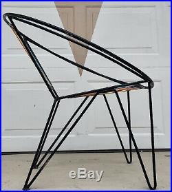 Salterini Mid Century Atomic Iron Circle Hoop Radar Chair Metal Patio Tempestini