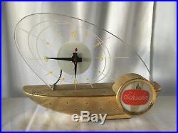 Schaefer Beer Atomic Sailboat Clock MID Century Modern Vintage