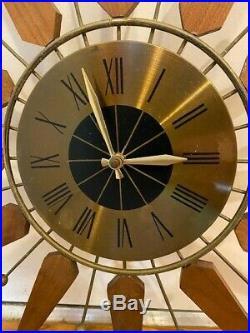 Sears 47381 Wall Clock Mid Century Vintage Sunburst Atomic Starburst Retro