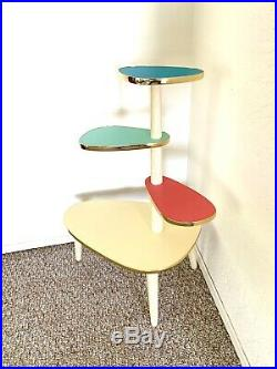 Space Age Plant Stand Mid Century Side Table Formica End Table Atomic 50s 60s