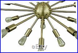 Sputnik Atomic Lamp Light Chandelier Satin Brass 50's Mid Century Modern Eames