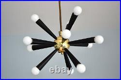 Sputnik Lampe 12-flammig Messing Mid Century modern Atomic Originalzustand 50er