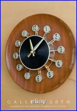 Sputnik! MID Century Modern Atomic Wall Clock! Vtg Space Age Interior Decorator