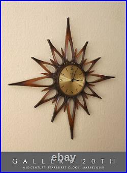Starburst! MID Century Modern Atomic Wall Clock! Vtg Space Age Sputnik Interiors