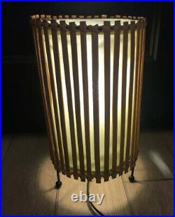 TIKI mid century hippy Boho chic bamboo Table LAMP! VIntage 50s 60s ATOMIC
