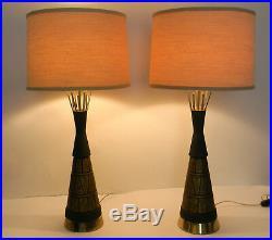 Tall Pair Mid Century Modern Atomic Chalkware Plaster Pottery Lamps F A I P FAIP