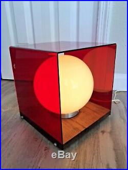 VINTAGE 70s MID CENTURY MODERN MCM ATOMIC RETRO RED LUCITE GLOBE TABLE WALL LAMP