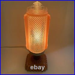 VTG 1950s Pair Mid Century Pink Glass Atomic Rocket Deco Table Lamps MCM EUC