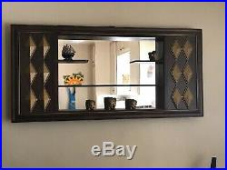 VTG MID CENTURY MODERN ATOMIC WALL SHELF MIRROR ILLINOIS MOULDING CO 1960s LARGE